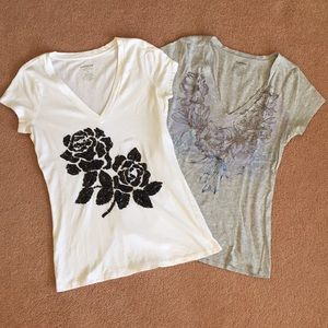 2 Express Floral Graphic V-Neck Tees